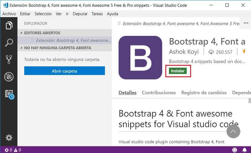 Editor de texto VS Code : extensiones de Bootstrap 4