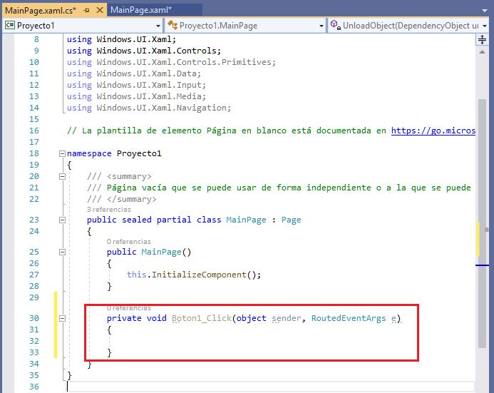 Pasos para crear una aplicación universal de Windows.