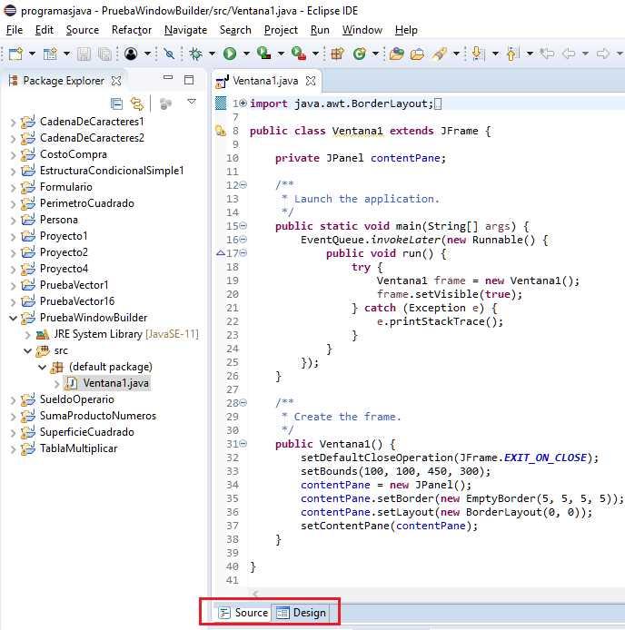 Plug-in WindowBuilder para crear interfaces visuales.