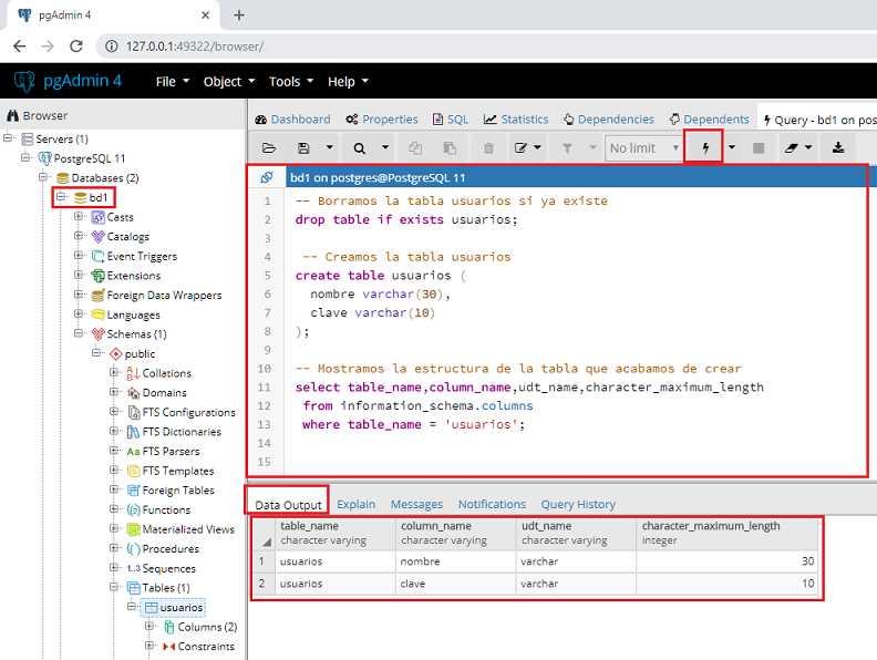 Tutorial de PostgreSQL - Crear una tabla (create table)