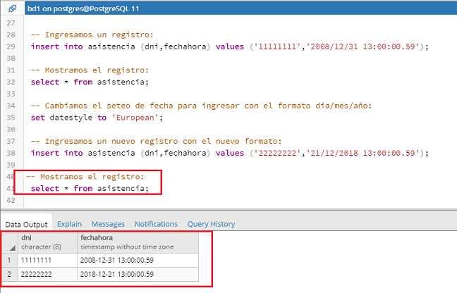 Tutorial de PostgreSQL - Tipo de dato fecha y hora