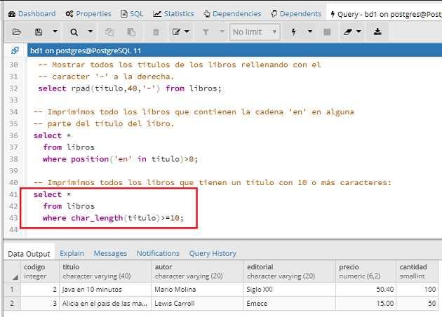 Tutorial de PostgreSQL - Funciones para el manejo de cadenas