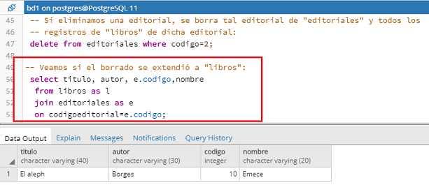 Tutorial de PostgreSQL - Restricciones foreign key (acciones)