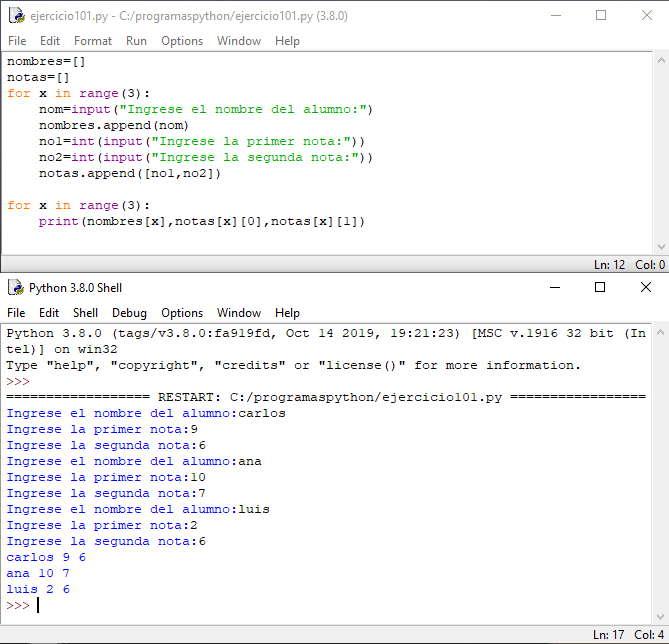 Listas: carga por teclado de componentes de tipo lista