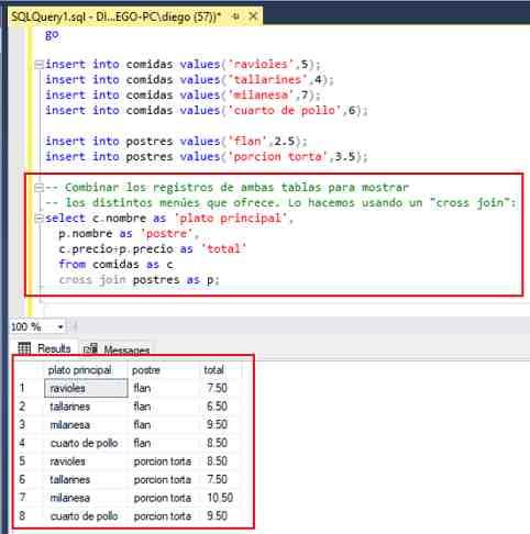 SQL Server Management Studio cross join